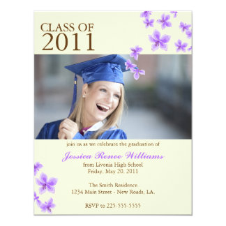 "Cherry Blossom Graduation (Today's Best Award) 4.25"" X 5.5"" Invitation Card"