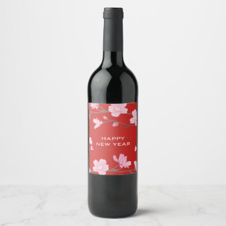 Cherry Blossom - Happy New Year Wine Label