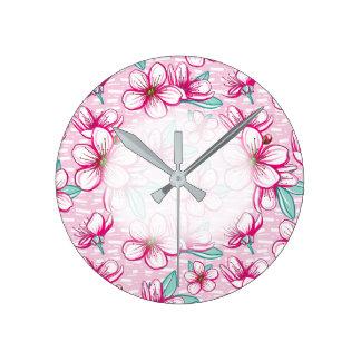 Cherry Blossom Hawaiian Aloha Round Clock