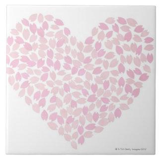 Cherry Blossom Heart Ceramic Tile