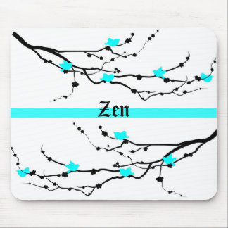 Cherry Blossom in Bright Powder Blue & Zen Mouse Pad