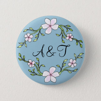 Cherry Blossom Initials Button