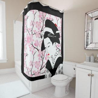 cherry blossom japanese geisha pink black white
