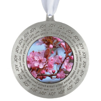 Cherry Blossom Japanese Round Pewter Ornament