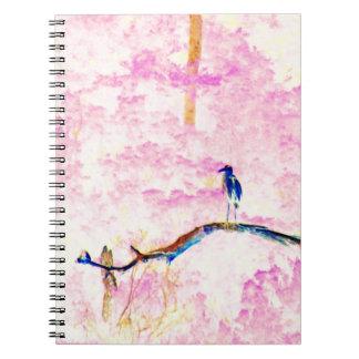 Cherry Blossom Landscape with Bird Notebook