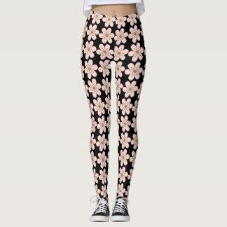 Cherry Blossom leggings, Pink and Black Leggings