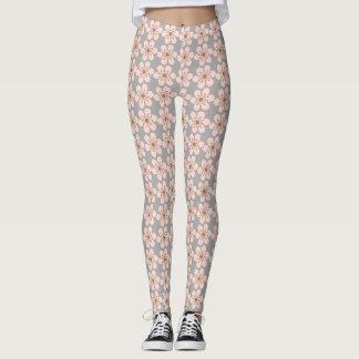 Cherry Blossom leggings, Pink and Gray Leggings