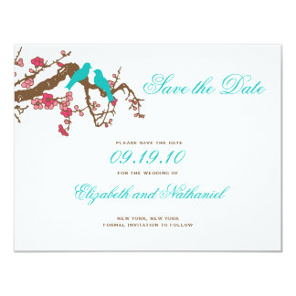 "Cherry Blossom Lovebirds Save the Date 4.25"" X 5.5"" Invitation Card"