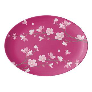 Cherry Blossom - Magenta Porcelain Serving Platter