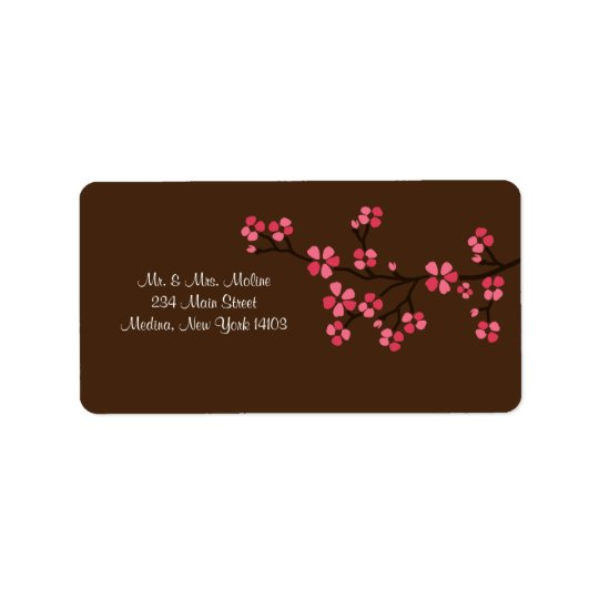Cherry Blossom Mocha Wedding Bridal Return Label