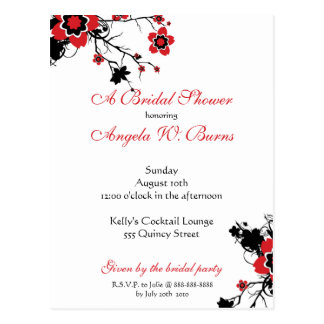 Cherry Blossom Modern Custom Bridal Shower Postcard