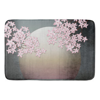 Cherry Blossom Moon Design Asian inspired bath mat