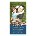 Cherry Blossom (Navy) Save the Date Photo Photo Greeting Card