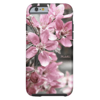 Cherry Blossom on Black and White Background Tough iPhone 6 Case