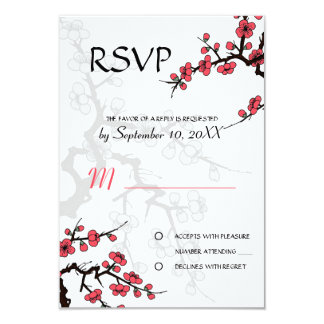 Cherry Blossom Oriental  RSVP invitation
