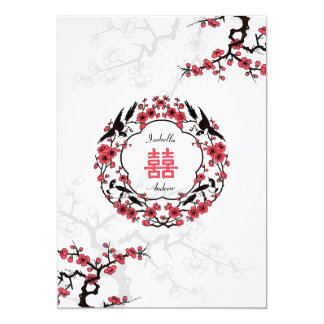 "Cherry Blossom Oriental Wedding 5"" X 7"" Invitation Card"