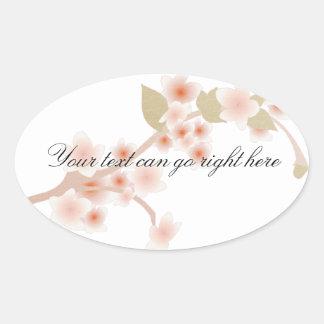 Cherry Blossom Oval Stickers