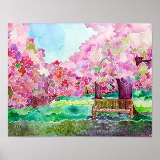 Cherry Blossom Park Bench Poster