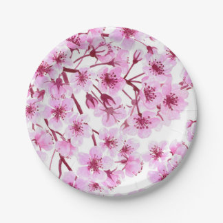 Cherry blossom pattern 7 inch paper plate