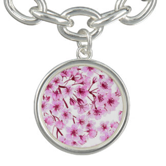 Cherry blossom pattern charm bracelets