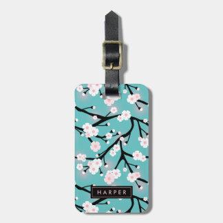 Cherry Blossom Pattern Custom Name Address Luggage Tag