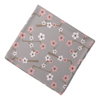 Cherry Blossom Pattern Gray Bandana