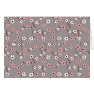 Cherry Blossom Pattern Gray Card