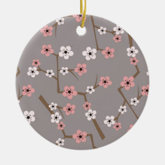 Cherry Blossom Pattern Gray Ceramic Ornament