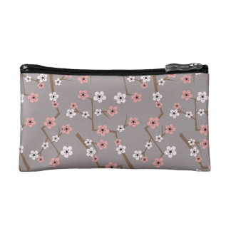Cherry Blossom Pattern Gray Cosmetic Bag