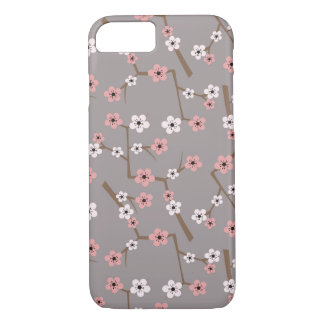 Cherry Blossom Pattern Gray iPhone 8/7 Case