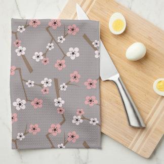 Cherry Blossom Pattern Gray Kitchen Towel