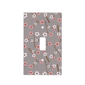 Cherry Blossom Pattern Gray Light Switch Cover