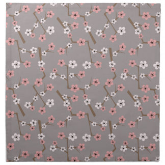 Cherry Blossom Pattern Gray Napkin