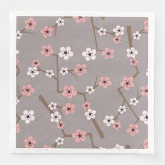 Cherry Blossom Pattern Gray Paper Napkins