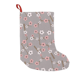 Cherry Blossom Pattern Gray Small Christmas Stocking