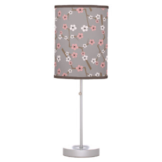 Cherry Blossom Pattern Gray Table Lamp