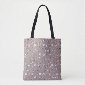 Cherry Blossom Pattern Gray Tote Bag