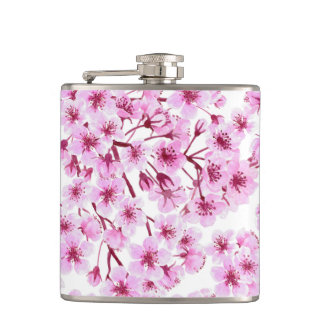 Cherry blossom pattern hip flask