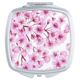Cherry blossom pattern makeup mirror
