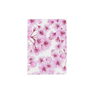 Cherry blossom pattern passport holder