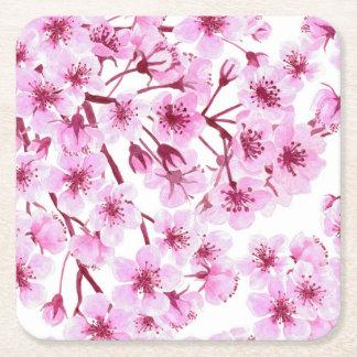 Cherry blossom pattern square paper coaster