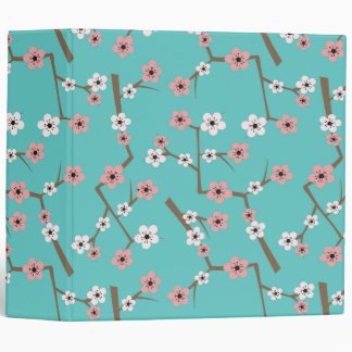 Cherry Blossom Pattern Turquoise Binder