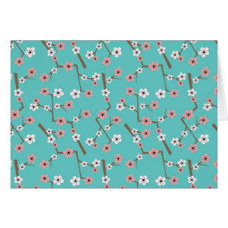 Cherry Blossom Pattern Turquoise Card