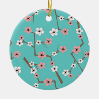 Cherry Blossom Pattern Turquoise Ceramic Ornament