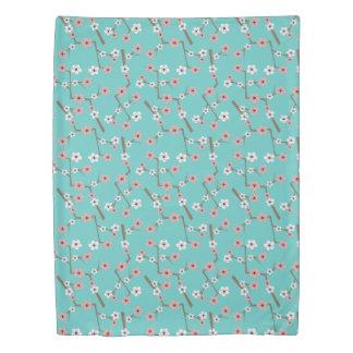 Cherry Blossom Pattern Turquoise Duvet Cover