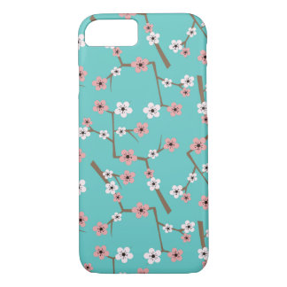 Cherry Blossom Pattern Turquoise iPhone 8/7 Case