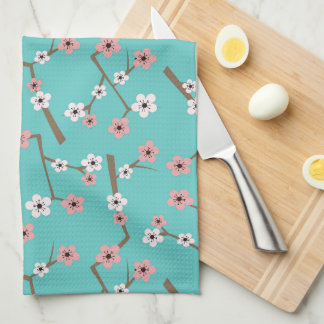 Cherry Blossom Pattern Turquoise Kitchen Towel