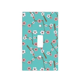 Cherry Blossom Pattern Turquoise Light Switch Cover