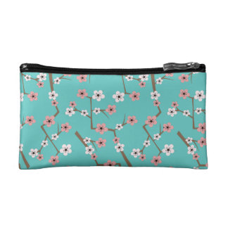 Cherry Blossom Pattern Turquoise Makeup Bag