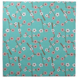 Cherry Blossom Pattern Turquoise Napkin